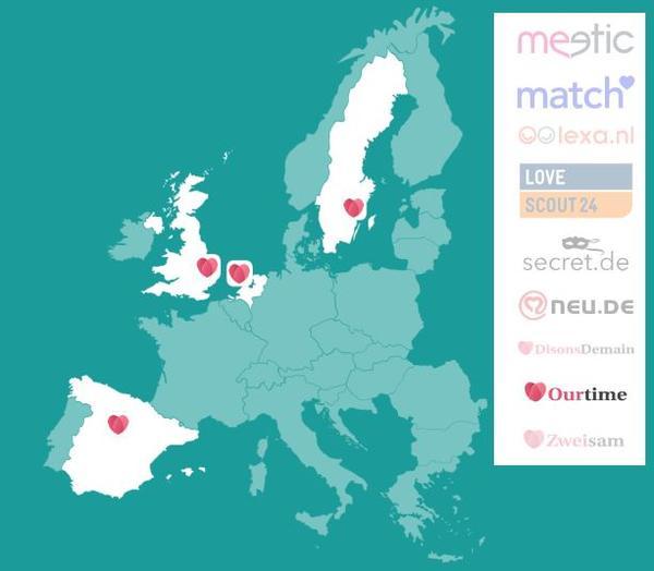 Países de Europa en los que Ourtime de Meetic está presente